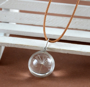Dandelion wish ball necklace