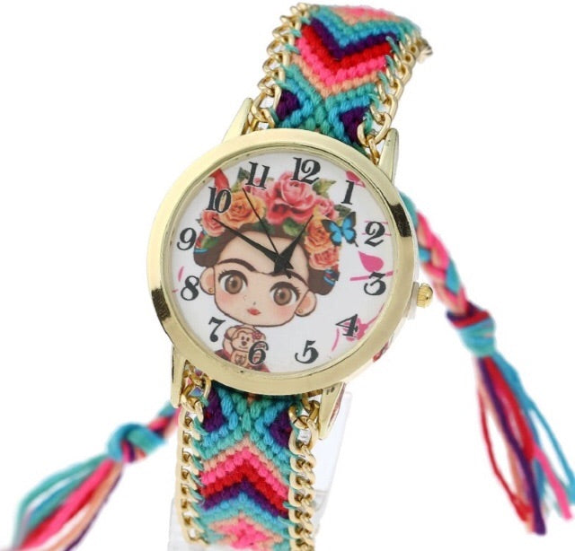Pink and blue woven frida watch