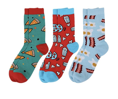 Choose from pizza , movies or eggs & bacon socks