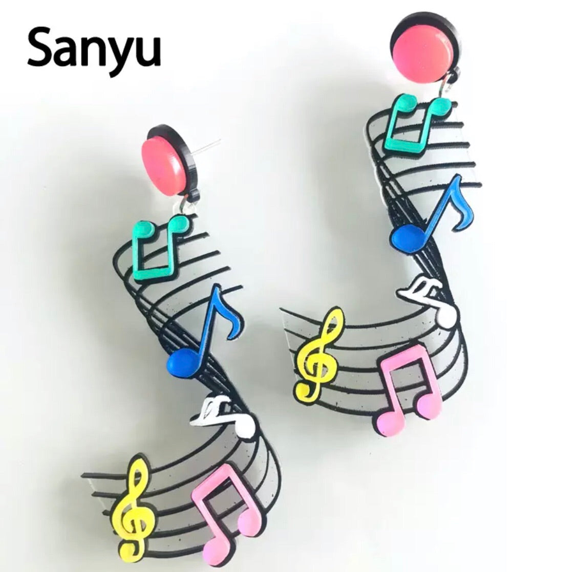 Acrylic music notes earrings