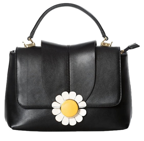 Banned apparel Bellis black daisy handbag