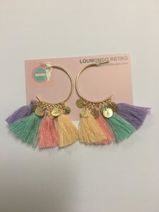 Pastel tassle gold hoop earrings