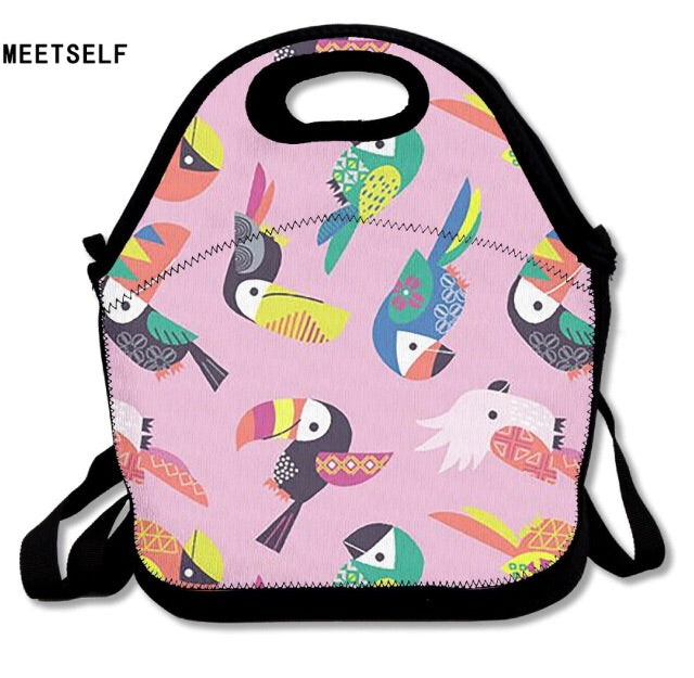 Birds pink lunch bag