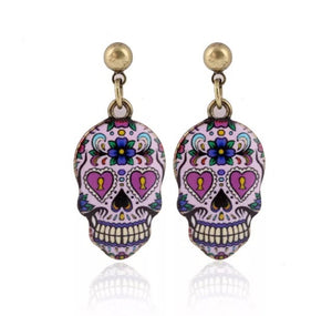 Small Sugar skull earrings  heart eyes