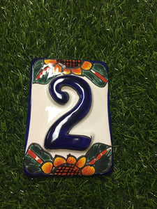 Mexican Talavera handmade and painted house numbers