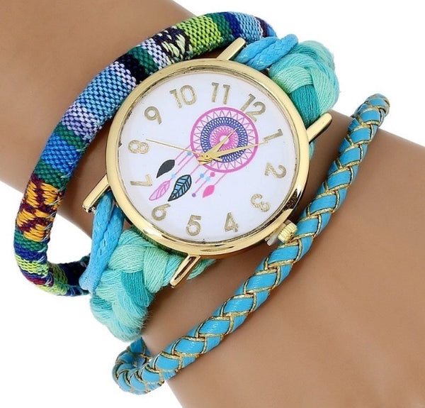 Dreamcatcher watch in blue or pink