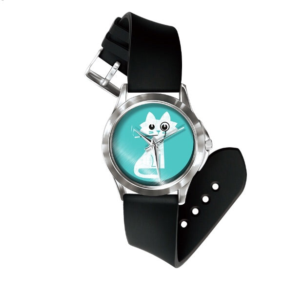 Blue and white cat watch