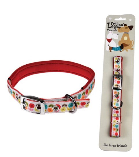 Rex international large mid century poppy colourful dog collar