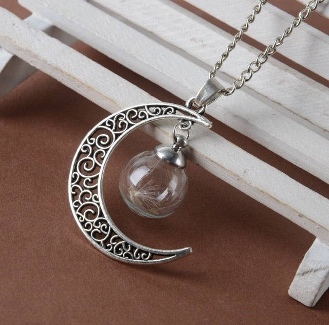 Dandelion wish upon a moon necklace