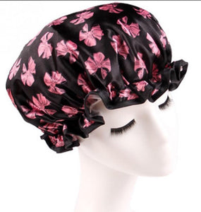Black with pink bows shower cap