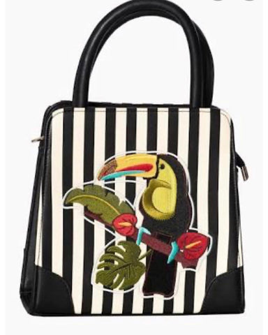 Banned apparel black and white strip toucan handbag
