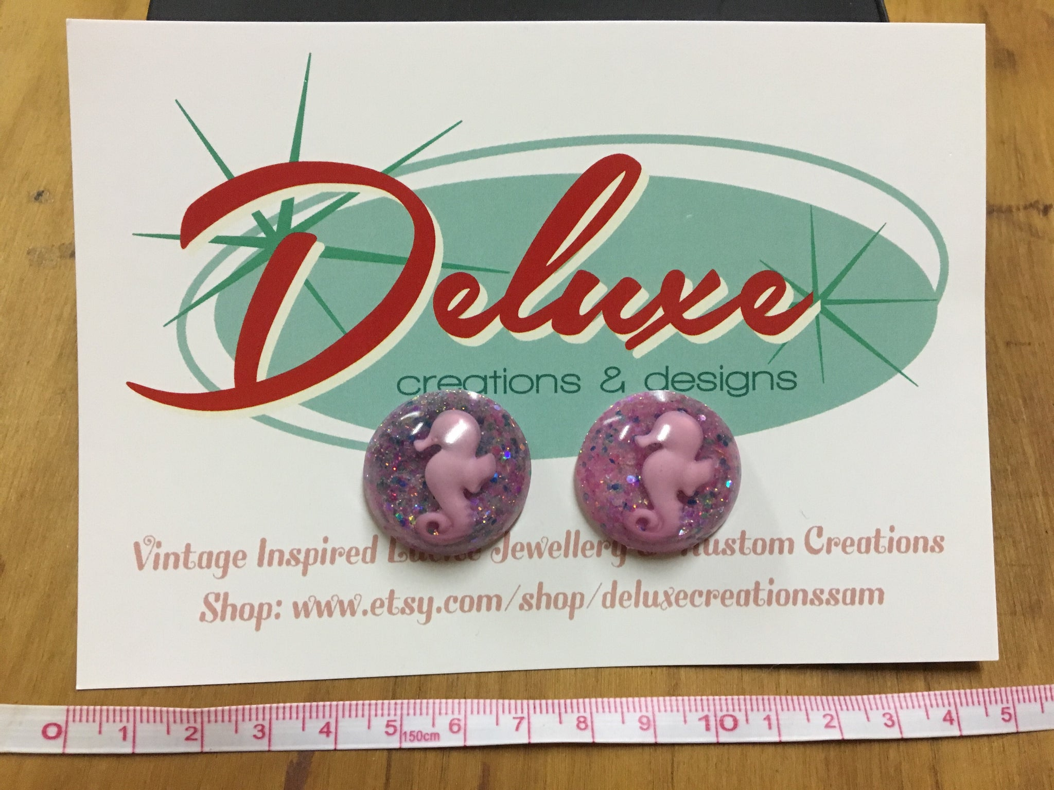Deluxe creations Purple Seahorse circle earrings 1 inch wide