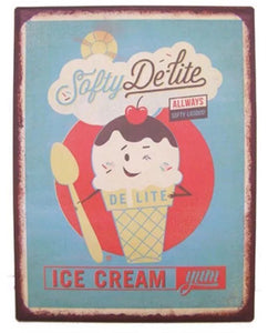 Ice cream vintage tin sign
