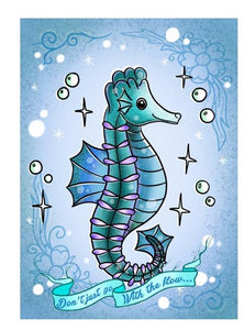 Juby umph dont go with the flow seahorse art print