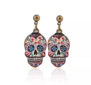 Small colourful sugar skull earrings