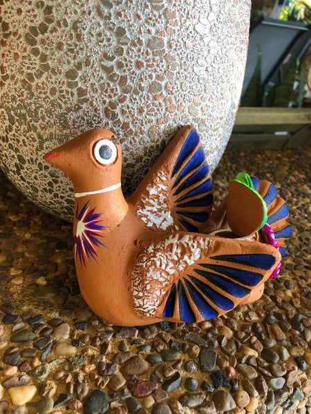 Handmade Mexican pottery peace dove candle holder wall hanging