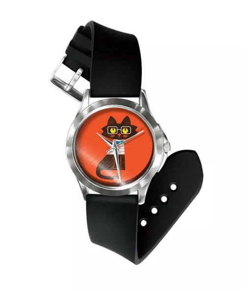 Red black cat watch