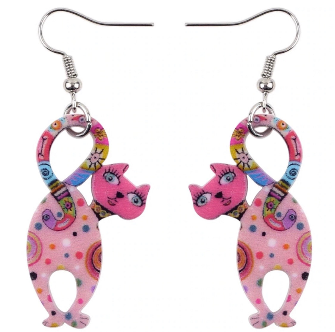 Midcentury style kitty earrings hot pink