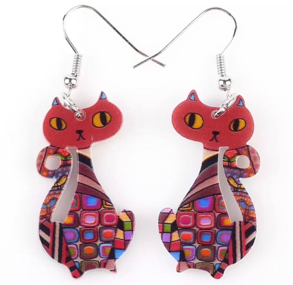 Midcentury style kitty earrings - red