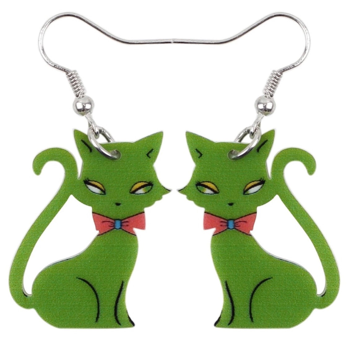 Midcentury style kitty earrings green