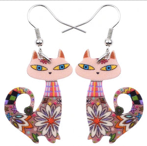 Midcentury style kitty earrings