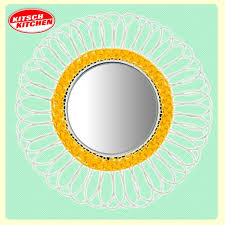 kitsch kitchen margarita yellow and white flower mirror