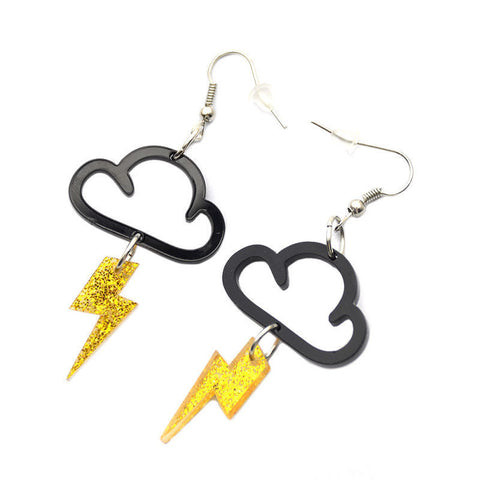 acrylic thunder cloud and lightening bolt earrings