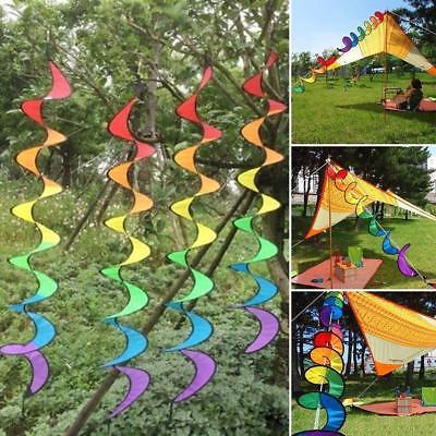 Colorful Rainbow Spiral Windmill Wind Spinner - garden decoration