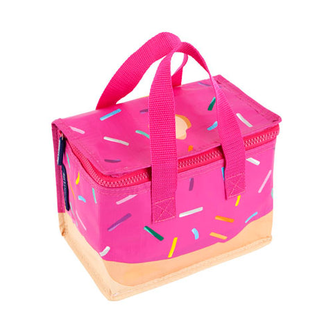 Sunny life pink donut print insulated lunch bag tote