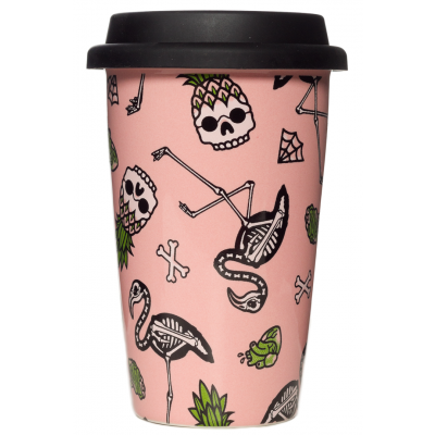 SOURPUSS FLAMINGOS TRAVEL COFFEE MUG CUP