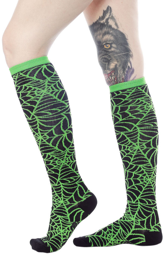 "SOURPUSS 17"" WEB SOCKS GREEN"