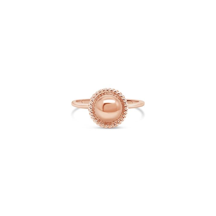 Ichu Jewellery - Rose Gold Rope Edge Ball Ring