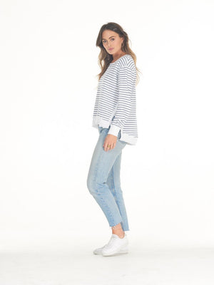 Cle' - Lucy Sweater in White/Indigo Stripe