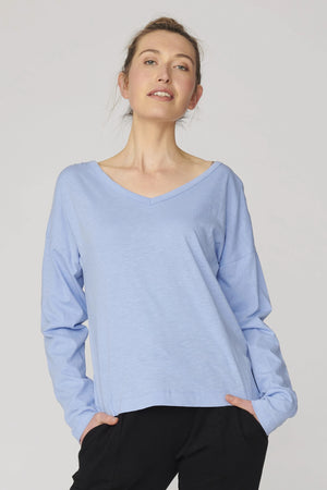 Lulu Organics Cotton Essentials - Chicago Long Sleeve Tee Robot Blue