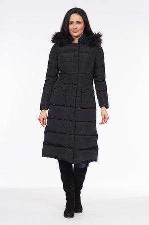 Kesta London - Fur Trim Long Line Down Coat with Patch in Black