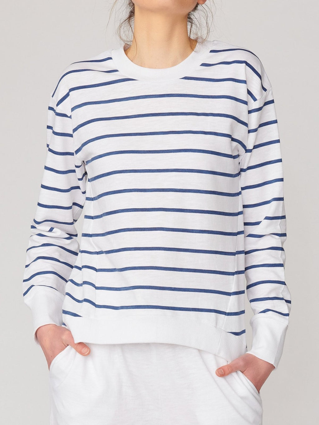 Lulu Organic Cotton Essentials - New Jersey Sweater In White/Indigo Stripe