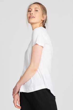 Lulu Organic Cotton Essentials - Melrose V Neck Tee White