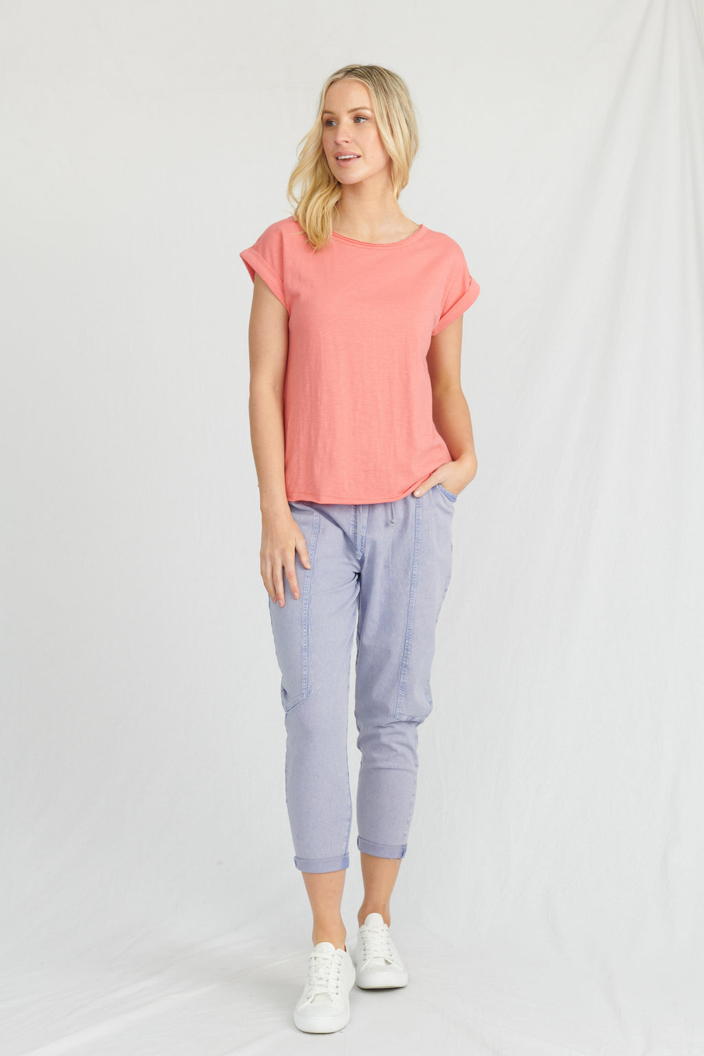 Lulu Organic Cotton Essentials - Santa Barbara Round Neck Tee Coral Flame
