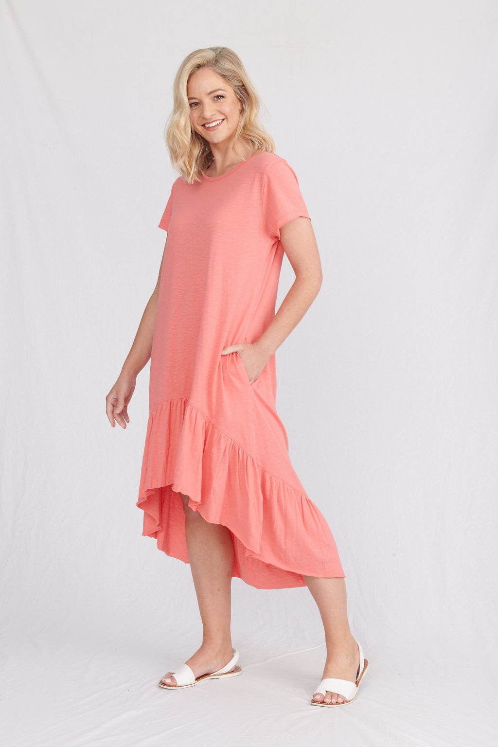 Lulu Organics Cotton Essentials - Somerville Dress Coral Flame