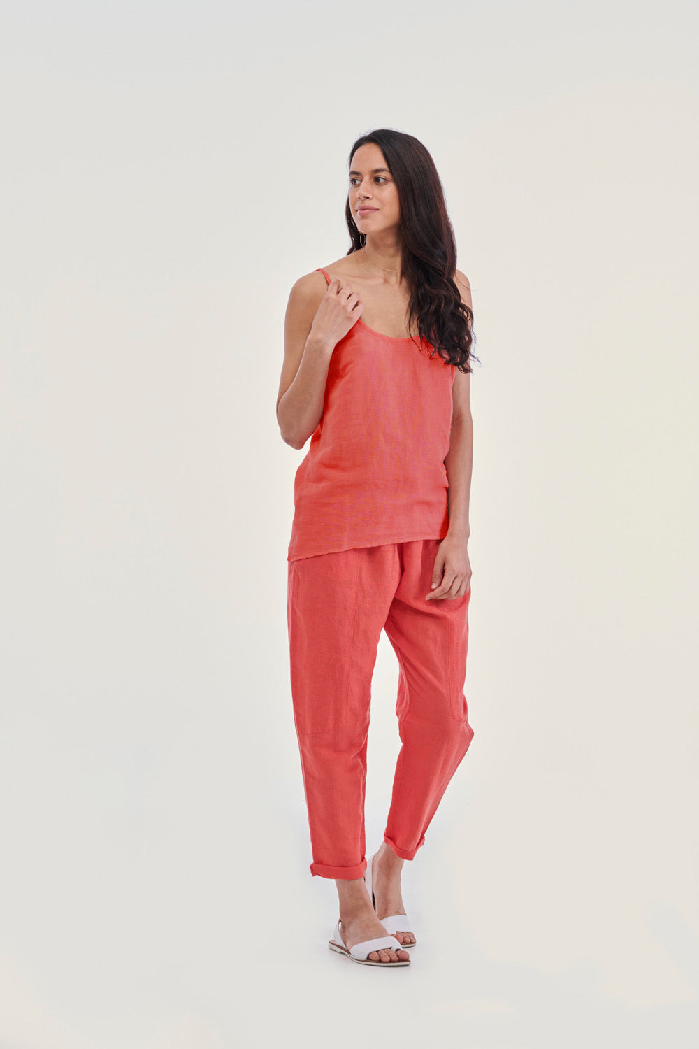 LuLu linen essentials Porto Cami Sunset Scarlet