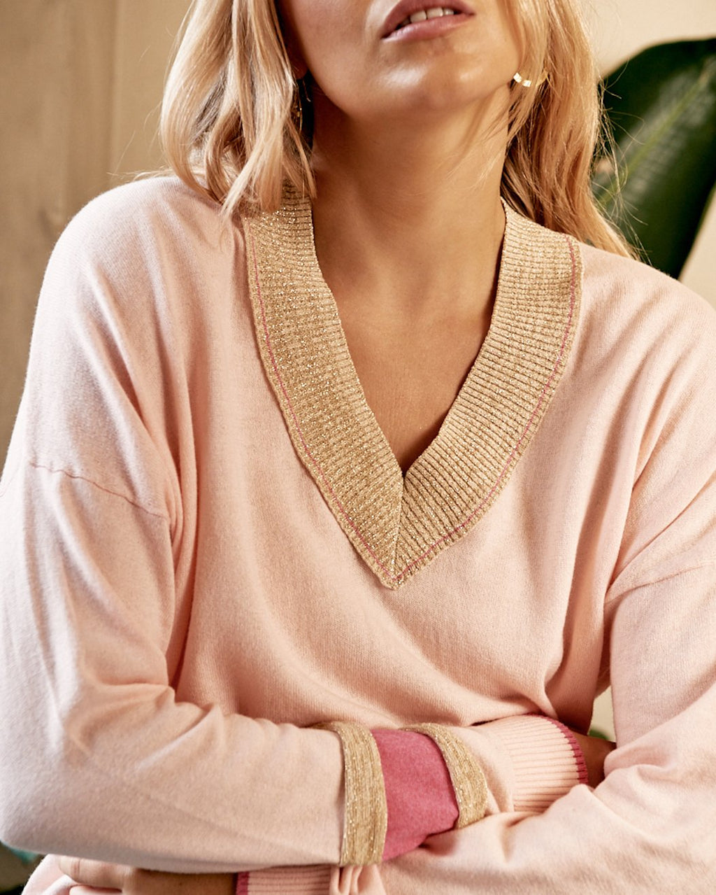 BANDE Georgia V Neck Knit PINK
