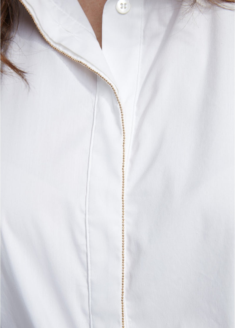 LAUREN VIDAL WHITE SHIRT GOLD TRIM