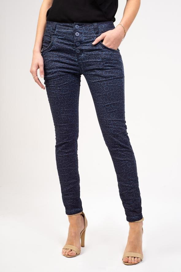 BIANCO Blake Button Fly Boyfriend Pant - Paisley Blue