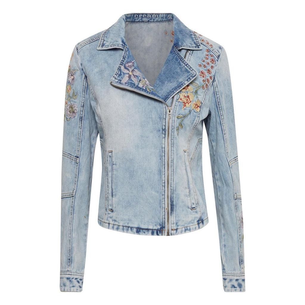 CREAM DENIM EMBROIDERED JACKET 040