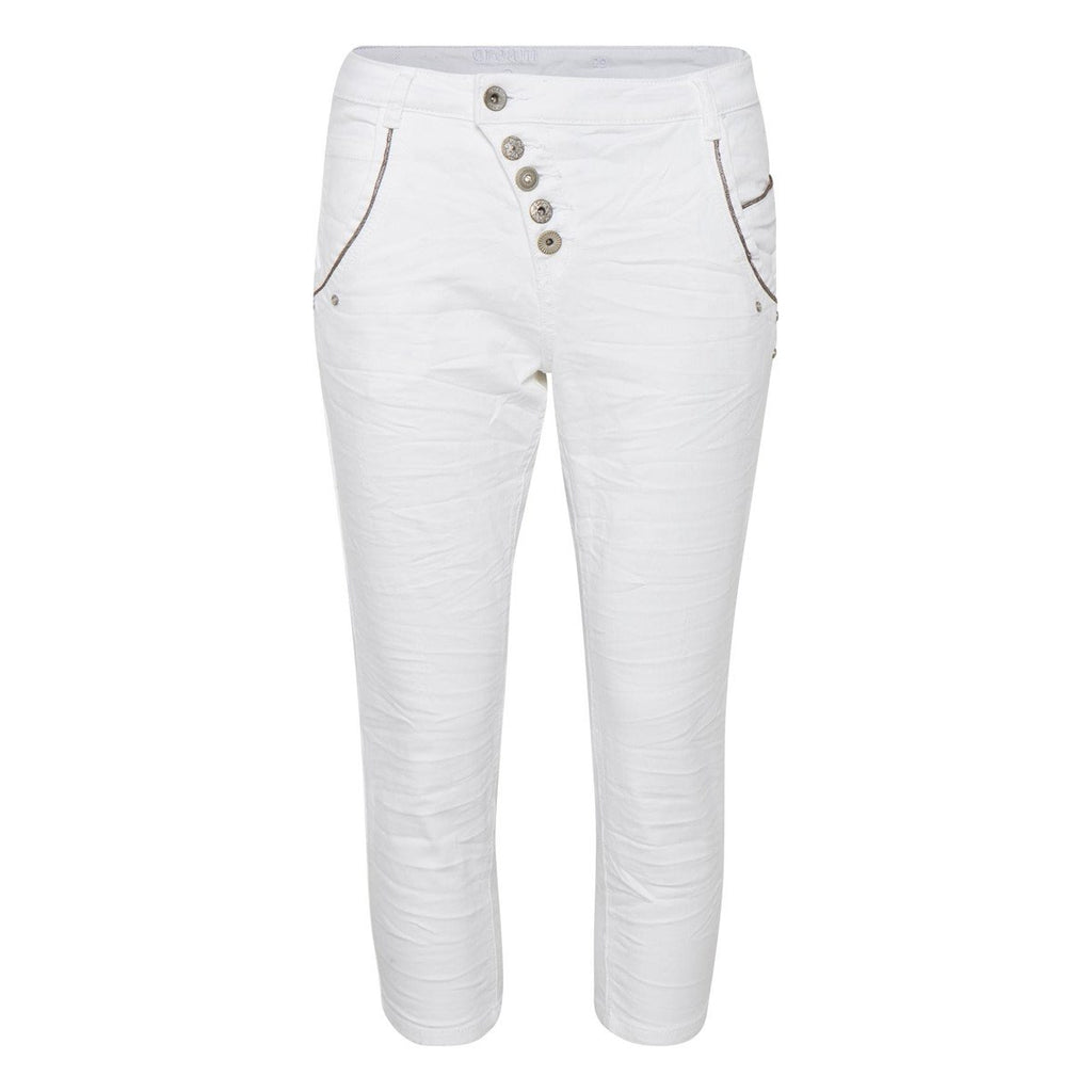 CREAM WHITE 3/4 DENIM PANT 067