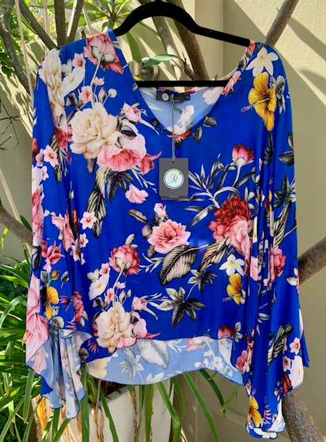 MADE IN ITALY 3382 PRINT TOP COBALT