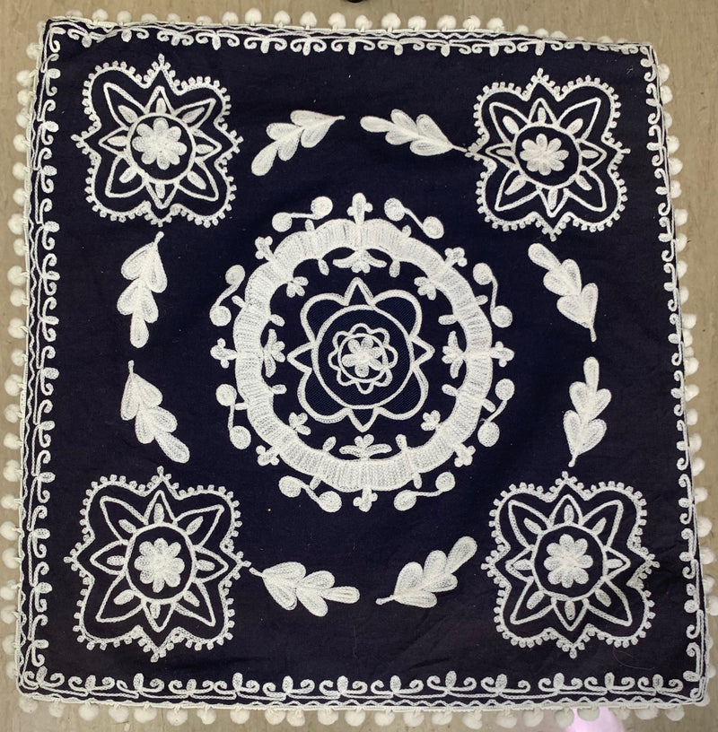 RUBY YAYA SUZANI CUSHION NAVY/WHITE