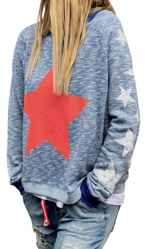 CAT HAMMILL HOLIDAY STAR SWEAT IN RETRO BLUE