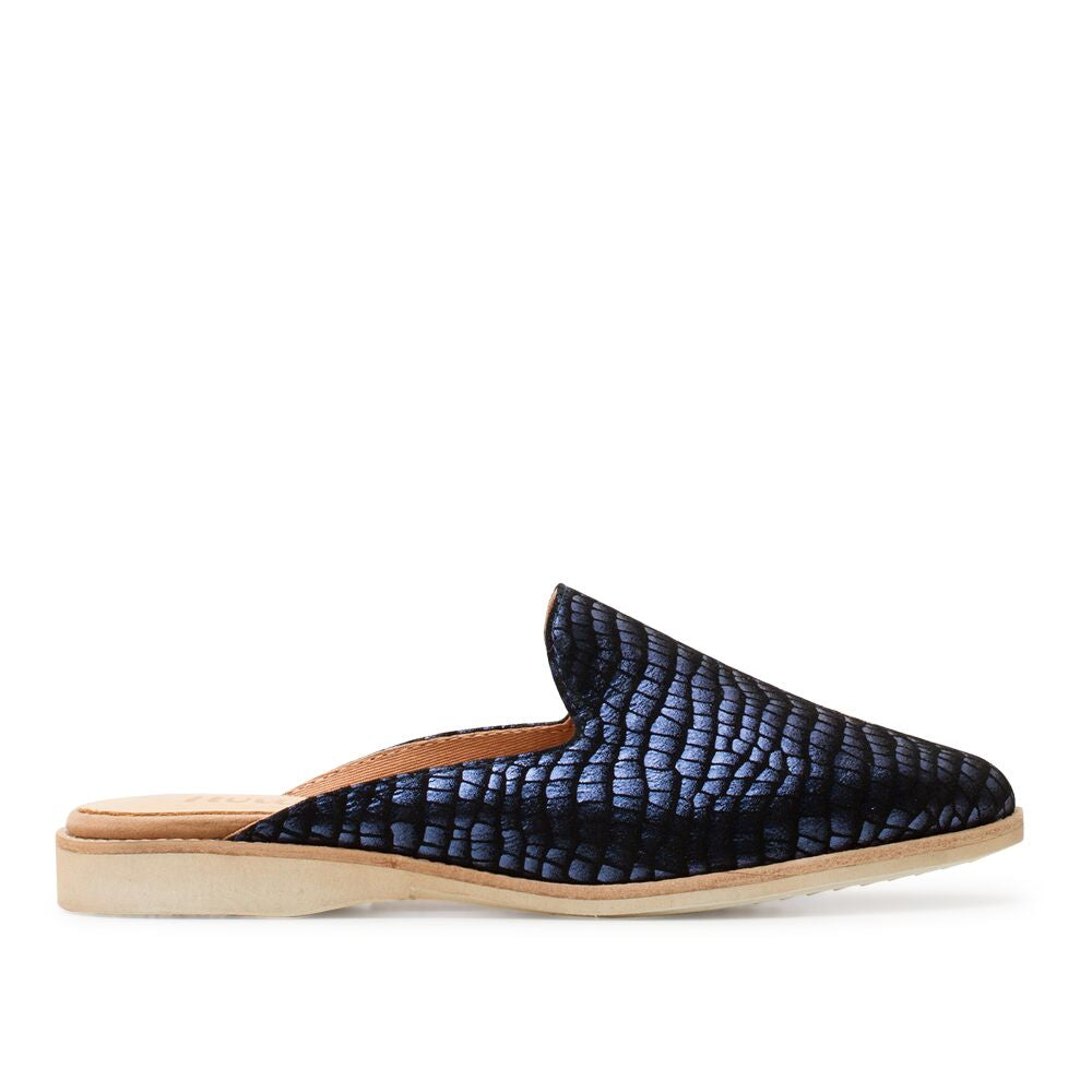ROLLIE MADISON MULE NAVY METALLIC CROC