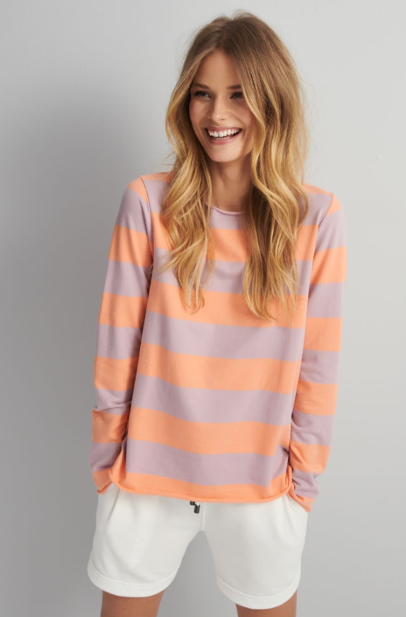 JUVIA ITALIAN FLEECE STRIPE SWEATER